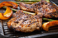 Grilling Pork Chops Royalty Free Stock Photo