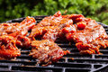 Grilling pork steaks on barbecue grill selective focus Royalty Free Stock Images