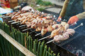 Grilling shashlik on barbecue grill with delicious meat Royalty Free Stock Photo