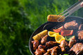 Grilling at summer weekend Royalty Free Stock Photo