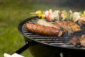 Grilling time in garden Royalty Free Stock Images