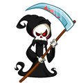 Grim reaper cartoon character with scythe isolated on a white background. Cute death Royalty Free Stock Photo