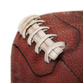 Grimy Old Football Closeup - On White Royalty Free Stock Photography