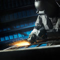 Grinding after weld Stock Photo