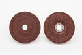 Grinding wheels the top and bottom on the white background Royalty Free Stock Photography