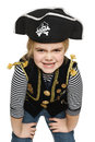 Grinning little girl pirate Royalty Free Stock Photo