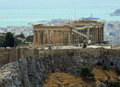 Grisia a view of athens acropolis and in the background pireus port Royalty Free Stock Photo
