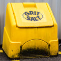 Grit salt bin ready use cold weather conditions Stock Photography