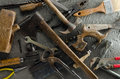Gritty hand tools and other bits of grungy hardware Royalty Free Stock Photos