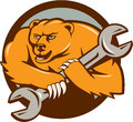 Grizzly Bear Mechanic Spanner Circle Cartoon