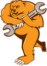 Grizzly Bear Mechanic Spanner Circle Isolated