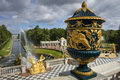 Großartige Kaskade in Pertergof, St Petersburg Stockfotos