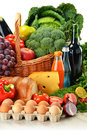 Groceries including vegetables and fruits Royalty Free Stock Photography