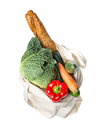 Grocery bag with fresh food full Stock Image