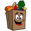 Grocery Bag Mascot Royalty Free Stock Photo