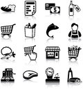 Grocery icons related silhouettes Stock Photography