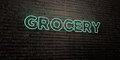GROCERY -Realistic Neon Sign on Brick Wall background - 3D rendered royalty free stock image