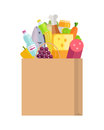 Grocery Shopping Concept Banner Illustration. Royalty Free Stock Photo