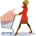 Grocery shopping for holidays pretty woman pushing a cart with an oversized turkey in it cartoon Royalty Free Stock Images