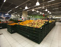 Grocery store apples in the foreground a new market rome italy a counter of Royalty Free Stock Photo