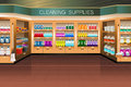 Grocery store cleaning supply section a vector illustration of in Stock Images
