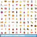100 grocery store icons set, cartoon style