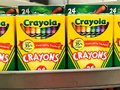 Grocery Store Shelves Stocked with Crayola Crayons Royalty Free Stock Photo