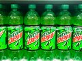 Grocery Store Shelves Stocked with Mountain Dew Soda Bottles Royalty Free Stock Photo