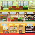 Grocery store or supermarket interior vector flat poster set Royalty Free Stock Photo