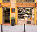 Grocery store in valencia spain traditional small shop selling local food and drink products Royalty Free Stock Photos