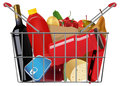 Grocery vector shopping full basket eps file gradient mesh and transparency used Royalty Free Stock Photography