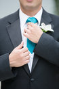 Groom adjusting tie upper body of in morning suit with carnation flower Stock Photos