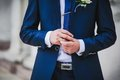 Groom with the boutonniere and tie Stock Image