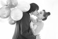 Groom and bride the the with the ballons Stock Photos