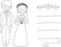 Groom and bride cartoon characters.