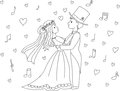 Groom and bride characters dancing on wedding day. Royalty Free Stock Photo