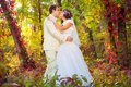 Groom and bride in nature Royalty Free Stock Photos
