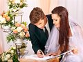 Groom and bride register marriage wedding Stock Photo
