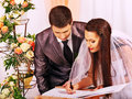 Groom and bride register marriage wedding Royalty Free Stock Images