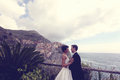Groom and bride on the shore Royalty Free Stock Photo