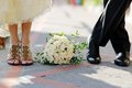 Groom bride wedding bouquet Royalty Free Stock Photography