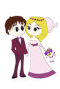 Groom and bride in wedding dresses animation characters the the vector eps illustration Royalty Free Stock Photography
