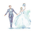 Groom and bride on white Royalty Free Stock Photo