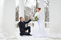 Groom declaration of love bride in winter park Royalty Free Stock Images