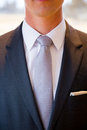Groom fashion abstract wearing a necktie on his wedding day with a classy fashionable suit and tie Stock Photography