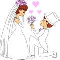 Groom giving flowers to bride.