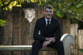 Groom with hairlight sitting on a concrete bench portrait shot of dressed in simple black suit seated in an outdoor garden Royalty Free Stock Images
