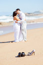 Groom kissing bride Royalty Free Stock Images