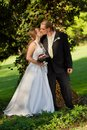 Groom kissing bride on their wedding day. Royalty Free Stock Images