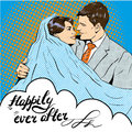 Groom kissing bride. Vector illustration in pop art retro style. Love, relationships. Royalty Free Stock Photo